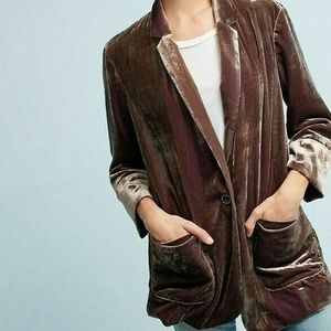 Cartonnier Anthropologie Iridescent Velvet Blazer